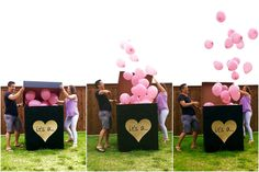 Ideas For Baby Reveal Ideas Gender Fun Pregnancy Announcements Gender Reveal Box, Gender Reveal Party Games, Gender Reveal Balloons, Gender Reveal Party Decorations, Gender Party, Gender Reveal Invitations, Baby Shower Gender Reveal, Reveal Parties, Fun Pregnancy Announcement