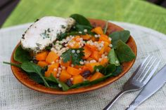 Leamon and parsley chicken breast with  butternut, spinach and Israeli couscous salad