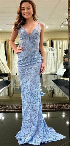 Sky Blue Lace V-neck Sheath/Column Prom Dress,Formal Evening Gowns. Cheap Prom Dresses, Trendy Dresses, Tight Dresses, Formal Dresses, Wedding Dresses, Lace Wedding, Lace Mermaid, Long Evening Gowns, Blue Lace