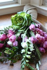 flowers wrapped in burlap sack