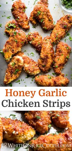 Easy sweet and sticky recipe for chicken tenders. Best Honey Garlic Chicken Strips Recipe with honey, soy sauce and full of flavor! Best chicken strips ever Chicken Strip Recipes, Recipe Using Chicken, Chicken Tender Recipes, Chicken Salad Recipes, Chicken Strips, Soy Sauce Chicken, Honey Garlic Chicken, Sticky Chicken, Fish Sauce
