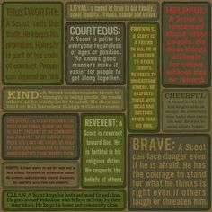 Boy Scout Law defined printable. This would be an awesome gift to print and…