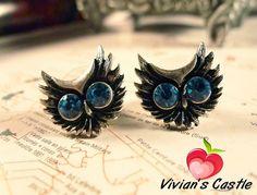 Free-shipping-Vintage-owl-earring-silver-owl-earring-blue-crystal-owl-earring.jpg (600×457)