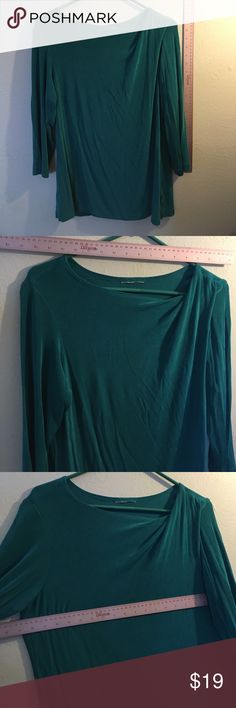 Chico's Coldwater medium sleeve traveler top tuck Cute top blouse in travelers travel fabric in pretty green turquoise please see photos for measurements ... non-wrinkle with nice cowl like neck and a fabric tuck at the right shoulder and medium length sleeves at about elbow level for those who don't like bare arms. Let's vacation and put this into our suitcase for chilly evening breezes ! Size small to medium. No orig tags Coldwater Creek Tops Tunics