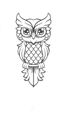Discover recipes, home ideas, style inspiration and other ideas to try. Owl Tattoo Drawings, Sketchbook Drawings, Pencil Art Drawings, Bird Drawings, Easy Drawings, Sketches, Drawing Drawing, Cute Owl Cartoon, Cartoon Birds