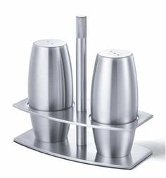 "Arcua Cruet Set by Zack. $75.00. Made of 18/10 high quality stainless steel, brushed finish.. Approximate size: 5"". Made in Germany. Made of 18/10 high quality stainless steel, brushed finish. Made in Germany. Approximate size: 5"""