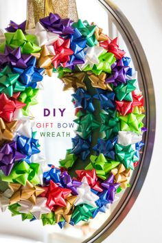 Christmas Bow Wreath - use gift bows to make a festive holiday wreath. omemade Christmas Wreaths for Christmas Decor mantles, doors and windows. Homemade Christmas Wreaths, Homemade Wreaths, Christmas Bows, Holiday Wreaths, Holiday Crafts, Christmas Ideas, Winter Wreaths, Holiday Ideas, Xmas