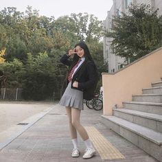 🇰🇷 is my weight loss motivation tbh Korean Outfits School, School Uniform Outfits, School Girl Outfit, Girl Outfits, Cute Outfits, Fashion Outfits, Korean Uniform School, Back To School Uniform, Ulzzang Korean Girl