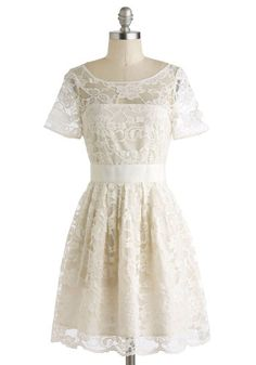 Adrift on a Cloud Dress by BB Dakota - White, Solid, Lace, Daytime Party, A-line, Short Sleeves, Scoop, Wedding, Vintage Inspired, Sheer, Bride, Graduation, Party, Exclusives, Prom, Lace, Woven, Best Seller, Mid-length, Top Rated