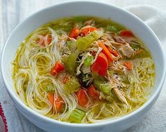 Gluten-Free Chicken Noodle Soup - Not because it's GF, just because chicken noodle soup with rice noodles sounds like an awesome idea!