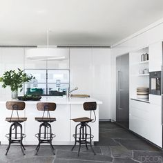 Gray Floor Kitchen  - ELLEDecor.com