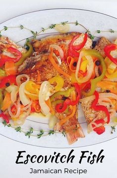 Escovitch King fish vs Escovitch Snapper - Guess Who Won? - Jamaican Food Fight Doesn't this look de Fish Recipes Jamaican, Jamaican Cuisine, Jamaican Dishes, Haitian Food Recipes, Indian Food Recipes, Ethnic Recipes, Jamaican Escovitch Fish Recipe, Jamaican Appetizers, Carribean Food