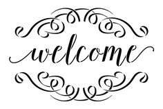 Welcome stencil with scrolls by Diy Pallet Projects, Vinyl Projects, Diy Bathroom Decor, Diy Home Decor, Welcome Stencil, Welcome Words, Word Stencils, Welcome Back To School, Cricut Creations
