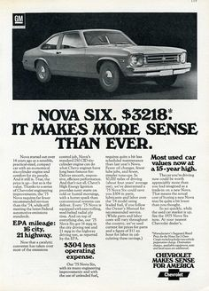 1963 chevy nova advertisements | 1975 nova ln poster 1976 nova sedan 1975 our new nova 1975 nova six ...
