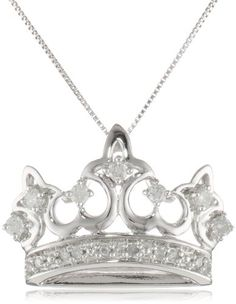 "10k White Gold Diamond Crown Pendant Necklace (1/4 cttw, I-J Color, I2-I3 Clarity), 18"" Amazon Curated Collection,http://www.amazon.com/dp/B0044KN88S/ref=cm_sw_r_pi_dp_TEJstb09WE8D1RZS"