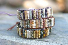 Ocean Jasper Gemstone Czech Glass Beaded Wrap Bracelet Gold