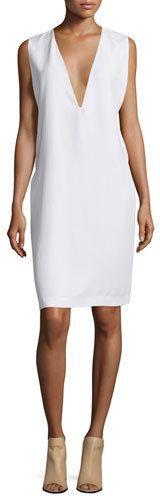 Equipment Prudence Plunging-V Shift Dress, Bright White