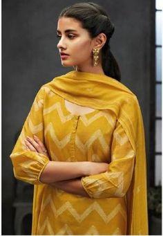 Ganga Nayana Pure Kora Silk Digital Printed Salwar Suits 7216 by DeeDeeBean Salwar Designs, Kurta Designs Women, Kurti Designs Party Wear, Indian Fashion Dresses, Pakistani Fashion Casual, Pakistani Dress Design, Indian Designer Outfits, Pakistani Suits, Neck Designs For Suits