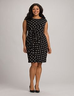 Plus Size Polka Dot Faux Wrap Dress