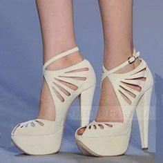 Elegant White Coppy Leather Cut-Outs High Heel Sandals  Stiletto Sandals