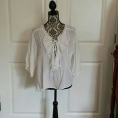 Blouse Off white Bohemian gauze blouse,lace up front.100%cotton and trim100%polyester, with 3/4 length sleeves! Worn 4 times.FINAL MARKDOWN! !!!!! Denim & supply Ralph Lauren  Tops Blouses