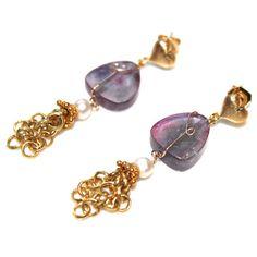Watermelon Tourmaline Slice Earrings Violet Gold Vermeil Tassel with Hearts