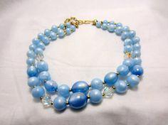 Light blue Pearls 2 Strand Choker Necklace by TreasureTrovebyTish, $25.00