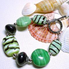 Chunky Handmade India Lampwork Seafoam Green Black 8 inch Bracelet | KatsAllThat - Jewelry on ArtFire