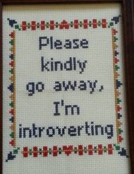 Introvert embroidery message