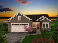 Craftsman-style empty-nester home plan offers open living spaces, screen porch, den, 2 bedrooms, and 2 baths.