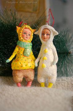 Купить Новогодний маскарад - комбинированный, ватные елочные игрушки, ватное папье-маше, елочные игрушки