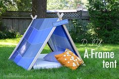 DIY A-Frame Tent thanks to Nalle's House on 4men1lady.com!  Super fun and easy to make!
