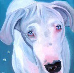 Great Dane dog gorgeous White Dane Giclee Fine Art Print