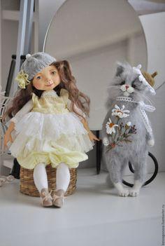 Купить Вышитая шубка РОМАШКА - кот, кошка, коты и кошки, коты, Кошки, игрушка кот