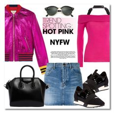 """NYFW 2018 PINK"" by vkmd ❤ liked on Polyvore featuring Gucci, Moschino, Balenciaga, Yves Saint Laurent, Givenchy, Ray-Ban, contestentry and NYFWHotPink"
