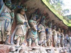 Dazu Rock Carvings, China.  Dating from the 9th to 13th centuries, these carvings provide evidence of the harmonious synthesis of Buddhism, Taoism and Confucianism in this period.