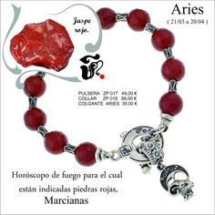 Hola Feliciamig@s.   Estamos en el horóscopo de Aries.   Esta es la pulsera de Feliciano para el horóscopo de Aries.   Está realizada en jaspe rojo y plata.   Felicidades a todos los Aries.
