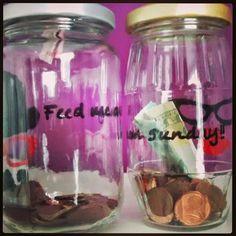 """He&She Money Box """"feed me on sunday"""""""