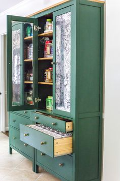 IKEA Hemnes Pantry Cabinet Organization - Tips and ideas for maximizing storage and creating function for food storage in a cabinet to repurpose as a pantry. #pantryorganization #storage