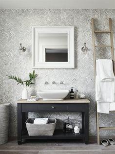 Carrara marble wall and floor tiles distinguish this luxurious and elegant white… – Marble Bathroom Dreams Chichester, Marble Herringbone Tile, Marble Tiles, Brown Furniture, Small Bathroom, Marble Bathrooms, Bathroom Ideas, Bathroom Inspiration, Carrara Marble Bathroom