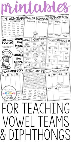 Vowel Team and Diphthong Printables and Activities