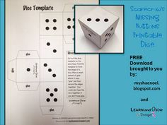 Link to Printable Dice Templates!  My Shae Noel - All Things Wonderful: All Things Scarecrows: Art Projects, Math Game, Printable Dice, Children's Book Reviews, and FREE Downloads