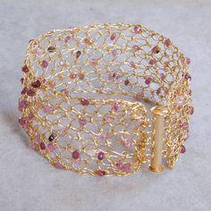 Pink Tourmaline Bracelet Crochet Gold Wire by Galit on Etsy, $98.00