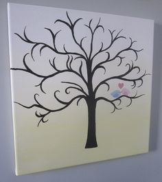 Gender Reveal Party - Pink and Blue Finger Print Leaves Tree Painting