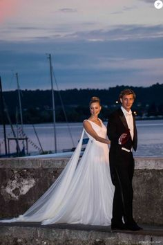 Aug. 1, 2015 - Pierre Casiraghi with his new bride Beatrice Borromeo in Valentino Haute Couture gown at their wedding in Italy.
