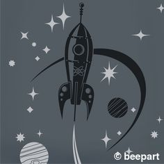 mid century modern inspired space ship and stars vinyl wall decal. this decal comes in two colors, the rocket ship elements measure approx. 23 x 32 and