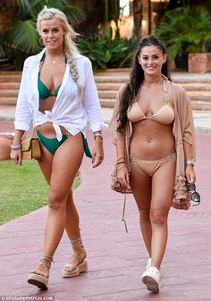 Glamorous girls: TOWIE stars Chloe Meadows and Courtney Green (L-R)showed off their incredible bikini bodies in equally glamorous swimwear as they filmed in Marbella on Saturday
