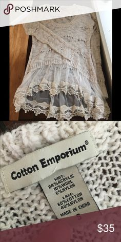 Nordstrom Cotton Emporium Lace Hem Sweater NWOT. Super cute scoop neck sweater with a lace hem. Perfect for the fall time with some weathered jeans, boots and a scarf or cute necklace. I just own too many sweaters to keep this cute thing. Sweaters Crew & Scoop Necks