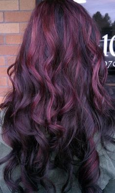 highlights for long brown hair with purple | Hair With Purple Highlights Tumblr Picture » Black-hair-with-purple ...