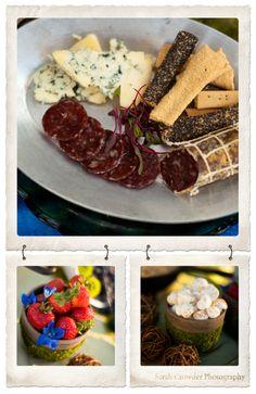 hobbit fare: meats, cheese and various crackers; strawberries; merengue mushrooms :)